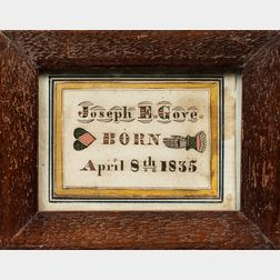 """Joseph E. Grove"" Watercolor Birth Record"