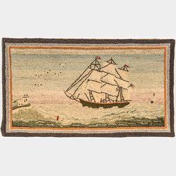 Sailing Ship Hooked Rug