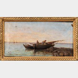 Italian School, 19th Century      Peasant Fishermen in a Small Vessel at the Shore.
