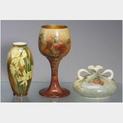 Three Floral Painted American Belleek Items