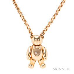 "18kt Gold and Diamond ""Happy Diamonds"" Teddy Bear Pendant and Chain, Chopard"