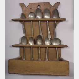 Carved and Painted Pine Spoon Rack and Thirteen Pewter Spoons