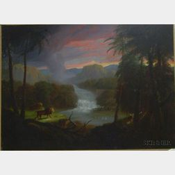 Framed American 19th Century Oil on Canvas Allegorical Landscape