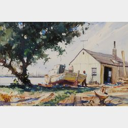 Gordon Hope Grant (American, 1875-1962)      Boat at Dry Dock, Possibly a Gloucester Scene