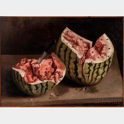American School, 19th/20th Century    Still Life with Watermelon