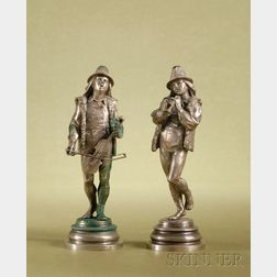 Pair of French Silvered Bronze Figures of Minstrel Musicians