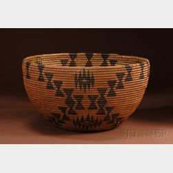 Large California Coiled Basketry Bowl