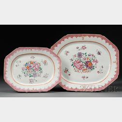 Pair of Chinese Export Famille Rose Decorated Platters
