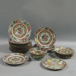 Twenty-one Pieces of Mostly Rose Canton Porcelain Tableware