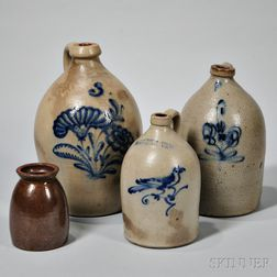 Three Stoneware Jugs and a Redware Jar