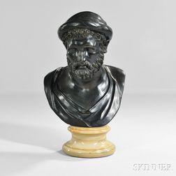 Continental School, 19th Century       Bronze Bust of a Roman God