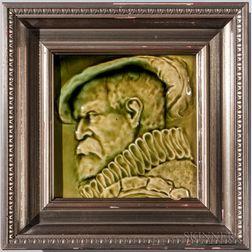 J. & J.G. Low Framed Art Pottery Tile of a Man