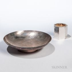 Florence Hollingsworth Silver Candleholder and a Bowl