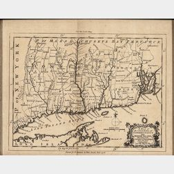 New England. Thomas Kitchin (1719-1784) A Map of the Colonies of Connecticut and Rhode Island.