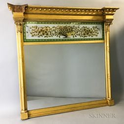 Federal Carved and Gilt Eglomise Overmantel Mirror