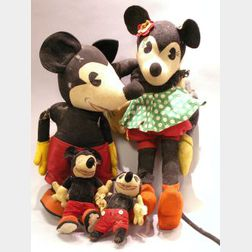 Large Knickerbocker Cloth Mickey and Minnie Mouse and Two Small Mickeys.