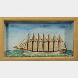 Ship Diorama of the Seven-Mast Steel Schooner T. W. Lawson