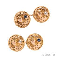 Art Nouveau 14kt Gold, Sapphire, and Diamond Cuff Links
