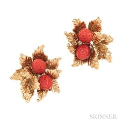18kt Gold and Coral Strawberry Earclips