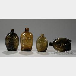 Four Historical Blown Glass Flasks