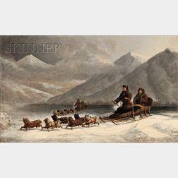George Albert Frost (American, 1843-1907)      Dog Sledding