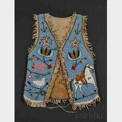 Plateau Pictograph Beaded Hide Vest