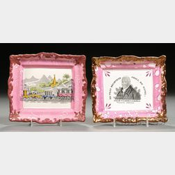 Two Sunderland Pink Lustre Transfer Decorated Pottery Plaques