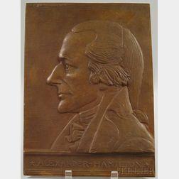 Cast Bronze Bust of Alexander Hamilton Wall Plaque