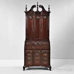 Carved Mahogany Nine-shell Desk/Bookcase, Wallace Nutting