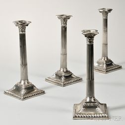 Four Assembled George III Sterling Silver Candlesticks
