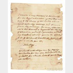 Monroe, James (1758-1831) Autograph Letter, Undated.