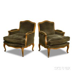 Pair of Louis XV-style Carved Fruitwood Bergeres