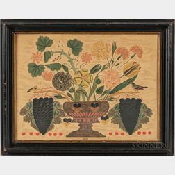 Framed Theorem Print with Hand-embellished Urn and Flowers