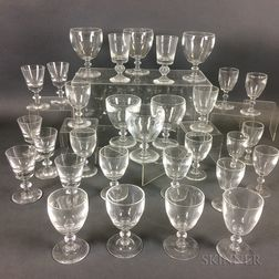 Thirty Pieces of Mostly Steuben Colorless Glass Stemware