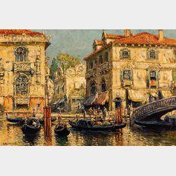 Arthur Vidal Diehl (American, 1870-1929)      Sunny Venetian Palazzos