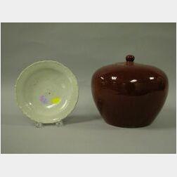 Chinese Oxblood Glazed Porcelain Ginger Jar and a Ming White Glazed Porcelain Plate.