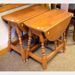 Pair of William & Mary Style Birch Drop-leaf Butterfly Tables.
