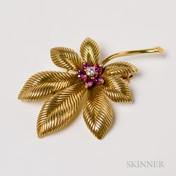14kt Gold, Ruby, and Diamond Leaf Brooch