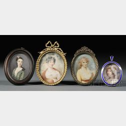 Four Oval-format Portrait Miniatures of Women on Ivory