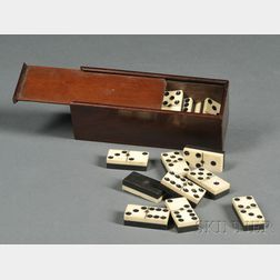 Set of Bone and Ebony Dominoes in a Mahogany Slide-lid Box