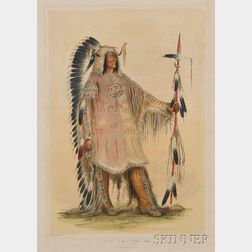"""Colored Lithograph of """"Mah-To-Toh-Pa"""" by George Catlin (1796-1872)"""
