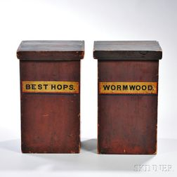 Two Painted Pine Apothecary Boxes