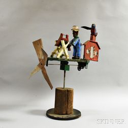 Carved and Painted Figural Folk Art Whirligig