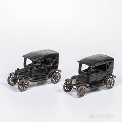 Two Cast Iron Town Car Banks