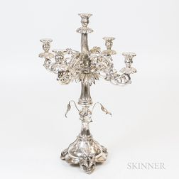 Russian .84 Silver Five-light Candelabra