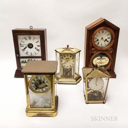 Five Brass and Wood Mantel Clocks