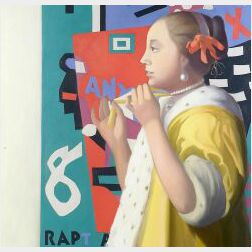 Terry Priest (American, 20th Century)  Vermeer's Girl with a Pearl Necklace   Before Stuart Davis' Rapt at Rappaport