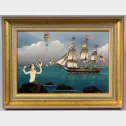 Ralph Eugene Cahoon, Jr. (American, 1910-1982)    Mermaid with a Three-masted Ship and Hot Air Balloon.