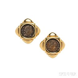 "18kt Gold and Ancient Bronze Coin ""Monete"" Earclips, Bulgari"