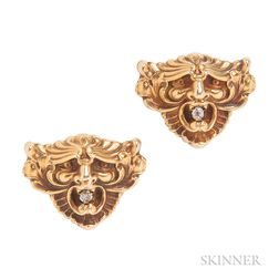 Art Nouveau 14kt Gold and Diamond Grotesque Mask Cuff Links